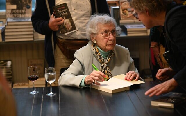 Selma van de Perre signs her book at the National Holocaust Museum in Amsterdam, Jan. 9, 2020.  Photo by Cnaan Liphshiz via JTA.org