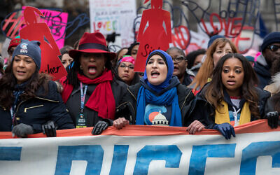 WASHINGTON,DC-JAN19: Organizers of The Women's March, during the march, January 19th, 2019.  (Photo by Evelyn Hockstein/For The Washington Post via Getty Images)