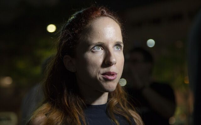 TEL AVIV, ISRAEL - SEPTEMBER 14: Israeli deputy of The Democratic Union political party Stav Shaffir answers the questions of press members after a rally of The Democratic Union political party ahead of the early elections in Tel Aviv, Israel on September 14, 2019. (Photo by Faiz Abu Rmeleh/Anadolu Agency via Getty Images)