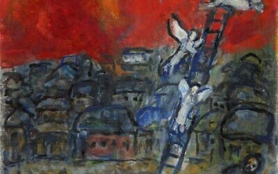 "Bidding on ""Jacob's Ladder,"" a Chagall oil on canvas, started at $110,000. Photo courtesy of Tiroche Auction House/via JTA"