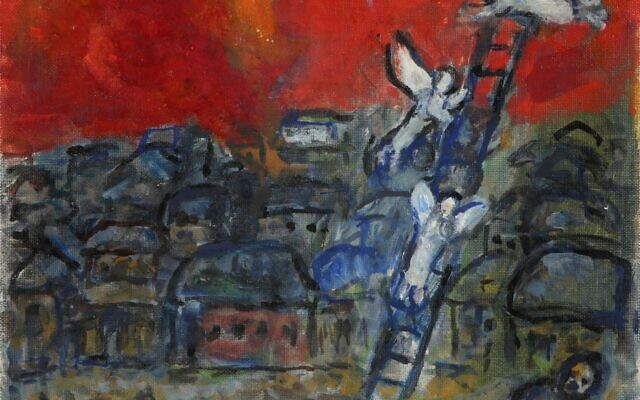 """Bidding on """"Jacob's Ladder,"""" a Chagall oil on canvas, started at $110,000. Photo courtesy of Tiroche Auction House/via JTA"""