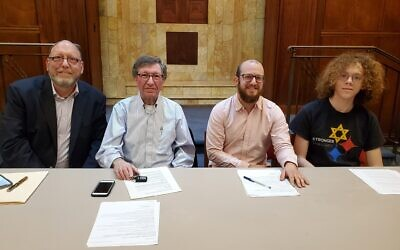 Panelists Rabbi Jeffrey Salkin, left, Peter Rosenfeld, Rayden Lev Sorock and Nathan Rybski. Photo by Adam Reinherz