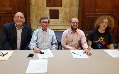 Panelists Rabbi Jeffrey Salkin, left, Peter Rosenfeld, Rayden Lev Sorock and Nathan Rybski. Photo by Adam Reinherz