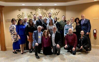Representatives of Tree of Life*Or L'Simcha gathered with members of Temple Shalom in Succasunna, New Jersey prior to the sculpture dedication. Photo courtesy of Cliff Levine
