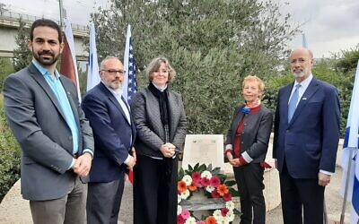 From left: Josh Sayles, Jeffrey Finkelstein, Frances Wolf, a JNF representative and Gov. Tom Wolf at the memorial for the victims of the Pittsburgh synagogue shooting (Photo provided by Josh Sayles)