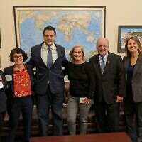 From left: Chelsea Karp, Nancy Gale, Aaron Gorodzinsky,  Lisa Lenhart, Congressman Mike Doyle and Rebecca Axelrod-Cooper. Photo courtesy of Nancy Gale