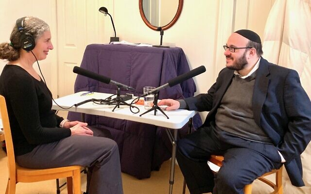 Aliza Becker interviews Rabbi Daniel Yolkut for the Meanings of October 27 project. Photo by Noah Schoen