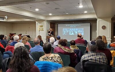 "Author Julie Orringer discusses her novel ""The Flight Portfolio"" at Congregation Beth Shalom's 2020 Speaker Series. Photo by David Rullo"