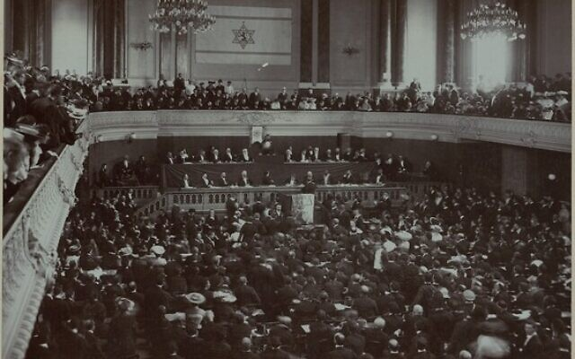Theodor Herzel gives the keynote address at the Second Zionist Congress in Basel, Switzerland, in 1898. Photo from the National Library of Israel via Wikimedia Commons
