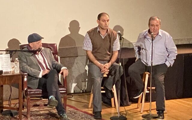From left: Colum McCann, Bassam Aramin and Rami Elhanan (Photo by Toby Tabachnick)
