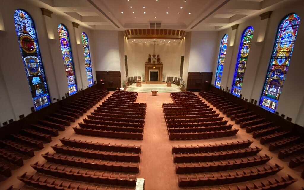 Synagogues, like Beth Shalom in Pittsburgh, have been mostly empty since the onset of COVID-19. Gary Rosenblatt contemplates why it feels so strange to reenter synagogue life.  (Photo by Jim Busis)