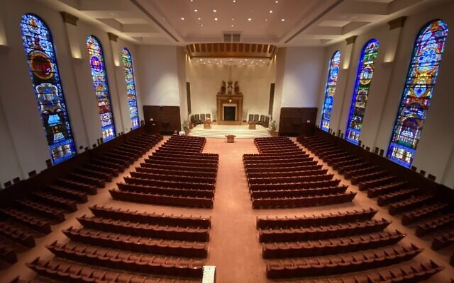The pews of Congregation Beth Shalom's sanctuary will be empty for the time being. Photo by Jim Busis