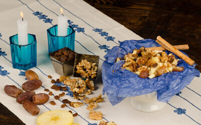 Haroset and its ingredients displayed on a festive table. Photo by OlafSpeier/iStockPhoto.com