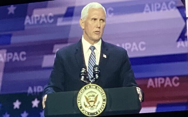Vice President Mike Pence lauded President Donald Trump's Israel policies at AIPAC's 2020 conference. (Photo by Toby Tabachnick)