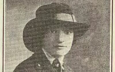 The Jewish Criterion published this photograph of Esther Yochelson in her military uniform on Jan. 3, 1919, about six weeks after her death. The photograph also appears on a small porcelain portrait set into her grave marker at Elrod Cemetery. Photo courtesy of the Rauh Jewish History Program & Archives at the Heinz History Center