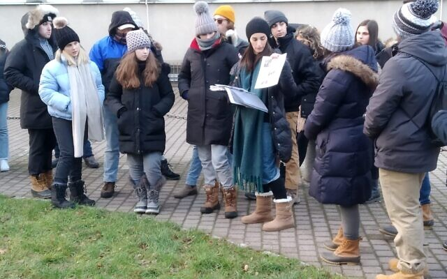 AISH Co-director Lisa Cook addresses a group of students during a trip to Bialystok, Poloand. Photo by Jonny Lipczer.
