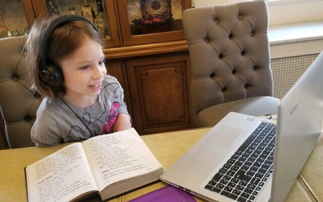 Lily Karoll logs on for some online learning with Hillel Academy. Photo courtesy of Shoshi Butler