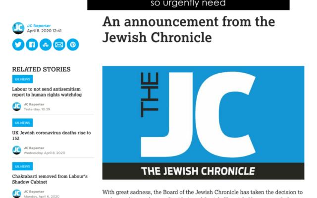 Screenshot of The Jewish Chronicle website