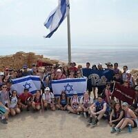 Students from University of Pittsburgh, Carnegie Mellon and Duquesne University on a 2018 Birthright trip Photo courtesy of Hillel Jewish University Center
