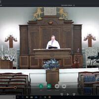 Rabbi Leonard Sarko officiates a videoconferenced Friday night service. Participants attended online. Photo courtesy of Rabbi Leonard Sarko