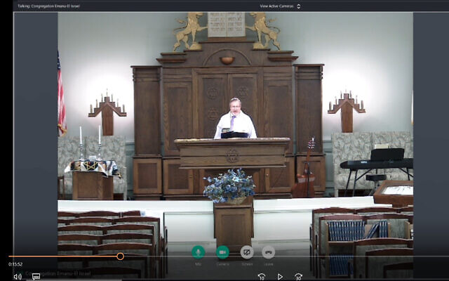 Rabbi Leonard Sarko officiates a videoconferenced Friday night service. Participants attended online. Photo courtesy of Rabbi Leonard Sarko