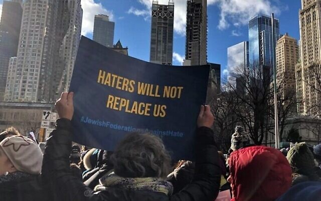 """Participants at the """"No Hate. No Fear."""" rally in New York City on Jan. 5, 2020. Photo by Rivka Segal."""