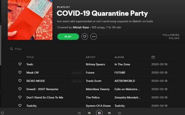"Spotify's ""COVID-19 Quarantine Party"" playlist has 412,324 followers. Screenshot captured by David Rullo"
