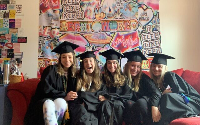 Bari Zweben, Arielle Stein, Hannah Perloff, Allison Cohen and Julia McDonald celebrate their recent graduation from the University of Pittsburgh without any public ceremonies or celebration. Photo courtesy of Hannah Perloff.