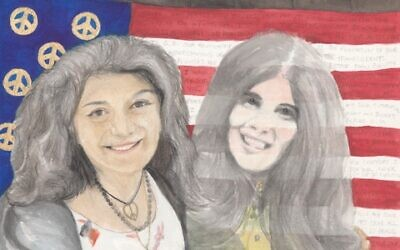 A watercolor painting of Laurel and Allison Krause. Painting by Roger Ballas