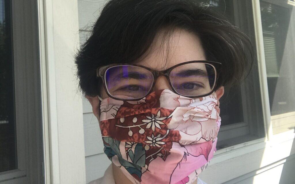 Julie Arnheim wears a mask from designer Johnny Was. Photo courtesy of Julie Arnheim