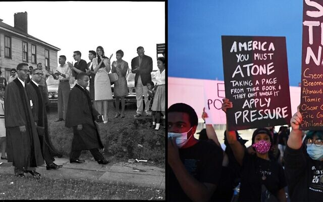 Left: The author's grandfather, Rev. N.H. Smith Jr., marches with the Rev. Martin Luther King Jr. and others in Birmingham. Right: Protesters attend a demonstration in Las Vegas demanding justice for the death of George Floyd, May 31, 2020. (Courtesy; Denise Truscello/Getty Images)