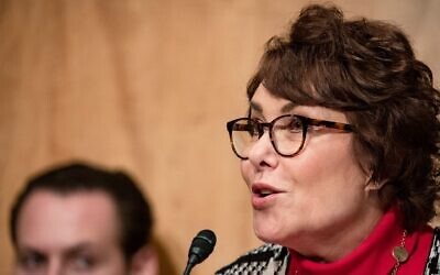 Sen. Jacky Rosen, seen at a Homeland Security Committee meeting in March 2020, was the lead Senate sponsor on the $10 million Holocaust education funding bill. (Samuel Corum/Getty Images)