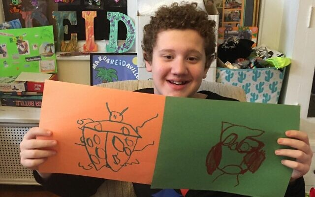 Reid Ringold plays Pictionary with The Friendship Circle via Zoom. (Photo provided by The Friendship Circle)