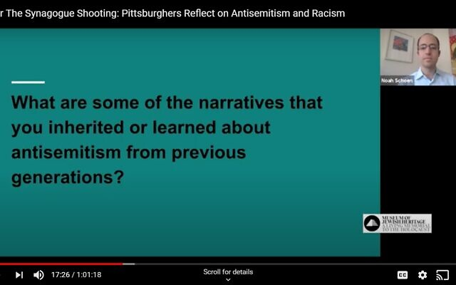 "Attendees of the ""After the Synagogue Shooting: Pittsburghers Reflect on Antisemitism and Racism"" Zoom webinar were asked to reflect on a series of questions. Still shot captured from YouTube recording."""