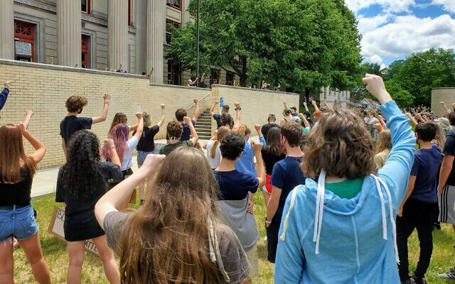 Hundreds of people joined a demonstration organized by Pittsburgh Allderdice students on June 11. Photo by Adam Reinherz