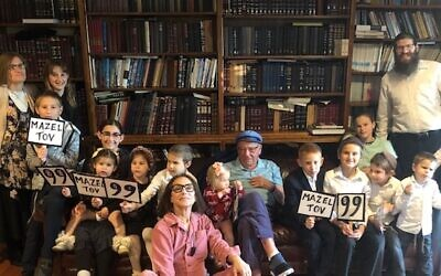 Jason Shapiro celebrating his 99th birthday surrounded by friends and family. Photo provided by Gerrie Shapiro.