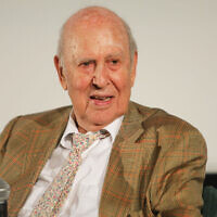 Carl Reiner at the Aero Theatre in Santa Monica, Calif., Aug. 3, 2017. (JTA/John Wolfsohn/Getty Images)