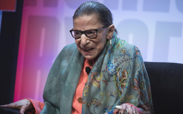 Supreme Court Justice Ruth Bader Ginsburg participates in a discussion during the Library of Congress National Book Festival at the Walter E. Washington Convention Center, Aug. 31, 2019. (JTA/Tom Williams/CQ Roll Call/Getty Images)