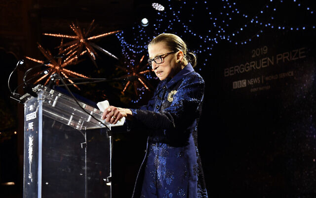 Ruth Bader Ginsburg speaks onstage at the Fourth Annual Berggruen Prize Gala celebrating 2019 in New York City, Dec. 16, 2019. (JTA/Ilya S. Savenok/Getty Images for Berggruen Institute)