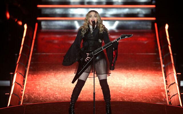 Madonna performs in Melbourne, Australia, March 12, 2016. (JTA/Graham Denholm/Getty Images)