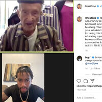 NFL star DeSean Jackson accepted an invitation from 94-year-old Holocaust survivor Edward Mosberg to visit Auschwitz together. (JTA/Screenshot from Instagram)