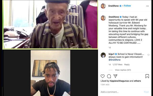 NFL star DeSean Jackson accepted an invitation from 94-year-old Holocaust survivor Edward Mosberg to visit Auschwitz together. (JTA/Screenshot from Instagram)