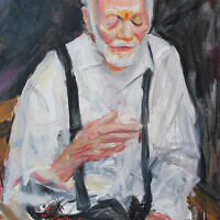 """""""An expressive portrait of a man recalling his past,"""" oil on canvas"""