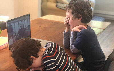 Preschool-age children participate in a morning gratitude session with Rabba Rachel Kohl Finegold at home.Photo courtesy of Rabba Rachel Kohl Finegold via JTA