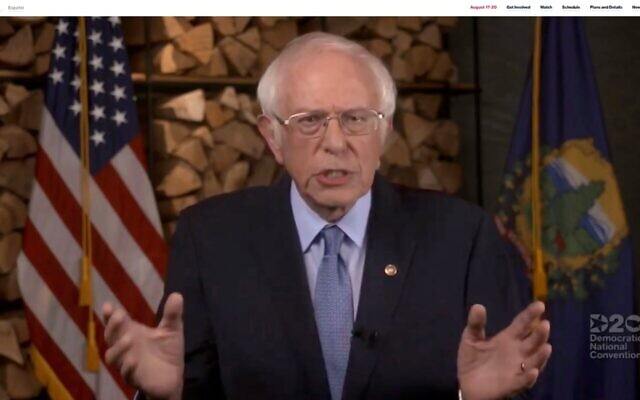 In this screenshot from the DNCC's livestream of the 2020 Democratic National Convention, Sen. Bernie Sanders (I-VT) addresses the virtual convention on August 17, 2020. (JTA/Handout/DNCC via Getty Images)