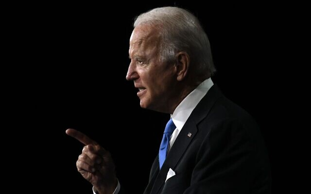 Joe Biden accepts the Democratic Party nomination for president during the last day of the Democratic National Convention at the Chase Center in Wilmington, Del., Aug. 20, 2020. (JTA/Olivier Douliery/AFP via Getty Images)