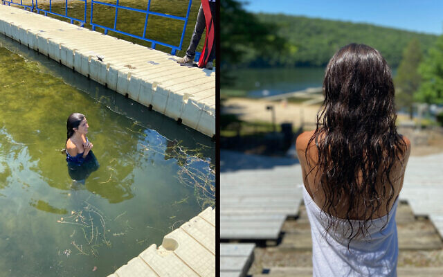 Alexa Rae Ibarra immersed in the lake at Camp Ramah in the Berkshires to complete her conversion to Judaism.  Photo courtesy of Alexa Rae Ibarra via JTA