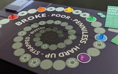 "Players start at various places on the board in ""Broke: The Game"" based on their character's life experiences. Photo provided by Dana Gold."