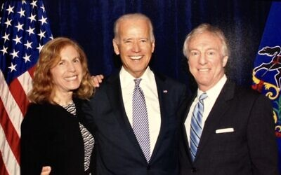 Cliff Levine with his wife Rosanne and Joe Biden at a 2014 reception in Pittsburgh. Photo by Alicia Dallago.