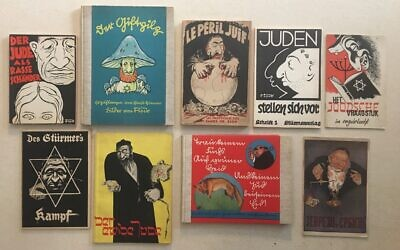 Assortment of Holocaust-era anti-Semitic propaganda. Photo by Howard Cohen.